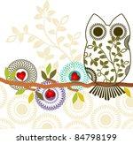 sweet owl sitting on branch  ...