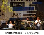 "KOKTEBEL, UKRAINE - SEPT 03: Jazz band ""Sergey Manukyan and friends"" performing on jazz festival Jazz in Blue Bay, September 03, 2011, Koktebel, Ukraine - stock photo"