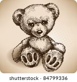 Teddy Bear Hand Drawing. Vector
