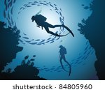 the group of divers rises from... | Shutterstock .eps vector #84805960