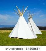 native american teepee in green ... | Shutterstock . vector #84808654