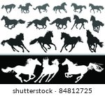 Stock vector black and white silhouette of a horse gallop vector 84812725