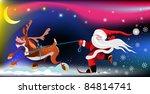 santa claus on reindeer | Shutterstock .eps vector #84814741