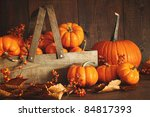Colorful Pumpkins With Dark...