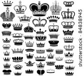 big silhouette crown set | Shutterstock .eps vector #84838945