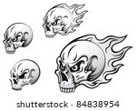 Danger Evil Skulls With Flames...