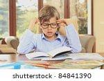 little schoolboy bored of doing ... | Shutterstock . vector #84841390