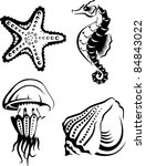 Collection Of Sea Animals In...