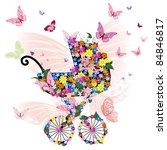 stroller of flowers and...   Shutterstock .eps vector #84846817