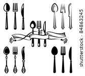 knife  fork and spoon | Shutterstock .eps vector #84863245