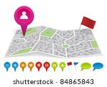 city map with labels. vector... | Shutterstock .eps vector #84865843
