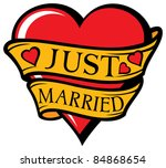 just married design with heart