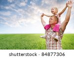 father with daughter in field... | Shutterstock . vector #84877306