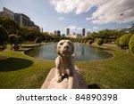 Lion sculpture at park - stock photo