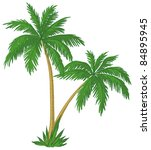 Vector  Palm Trees With Green...
