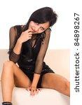 portrait of a cute girl sitting ... | Shutterstock . vector #84898267