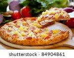 hawaiian pizza lifted slice 2 | Shutterstock . vector #84904861