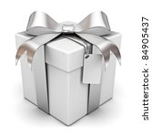 gift box with silver ribbon bow ... | Shutterstock . vector #84905437
