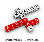 mental health first aid 3d crossword - stock photo