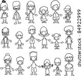 doodle members of large families   Shutterstock .eps vector #84922999