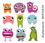 halloween monster set | Shutterstock .eps vector #84923524