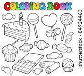 coloring book candy and cakes   ... | Shutterstock .eps vector #84924463