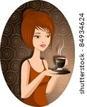 a pretty woman with a cup of... | Shutterstock . vector #84934624