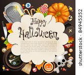 halloween card with different... | Shutterstock .eps vector #84945352