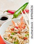 canton chinese rice with shrimp  and pepper - stock photo