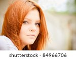 closeup portrait of beautiful... | Shutterstock . vector #84966706