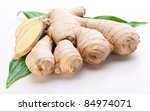 fresh ginger with leaves... | Shutterstock . vector #84974071