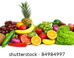 fruits and vegetables isolated... | Shutterstock . vector #84984997