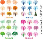 Four Season Trees  Vector...