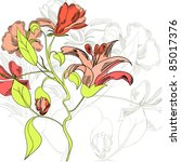 template for floral card | Shutterstock .eps vector #85017376