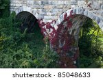 Beautiful shot of red vine on old stone bridge built in 1874 - stock photo