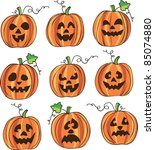 carved halloween pumpkin faces | Shutterstock .eps vector #85074880