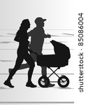 Active family marathon runners in urban city landscape background illustration - stock vector