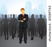 illustration of leader standing ... | Shutterstock .eps vector #85089763