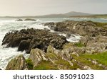Irish Coast With Waves In Co....