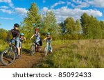family of four cycling outdoors....   Shutterstock . vector #85092433