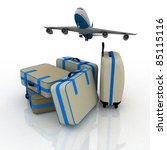 airliner and suitcases on white ...   Shutterstock . vector #85115116
