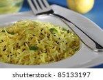 lemon rice - stock photo