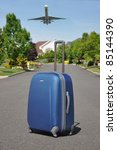 airplane flying over suburban... | Shutterstock . vector #85144390