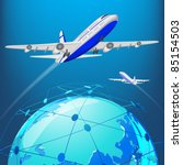 illustration of airplane flying ... | Shutterstock .eps vector #85154503