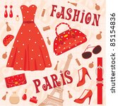 Paris Fashion Set. Vector ...