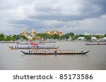 BANGKOK, THAILAND - SEPTEMBER 20: Members of Thai Buddhist boats train and travel down the Chao Phaya River on September 20, 2011 in Bangkok, Thailand. They prepare for the celebration of the current king's 84-year reign on the throne. - stock photo