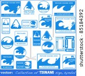tsunami warning sign set... | Shutterstock .eps vector #85184392
