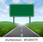 road with blank highway sign... | Shutterstock . vector #85184575