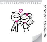cartoon wedding couple on... | Shutterstock .eps vector #85192795