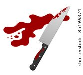 Knife With Blood. Vector...